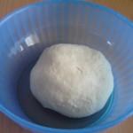 Il primo impasto del pane fatto in casa che riposa e lievita